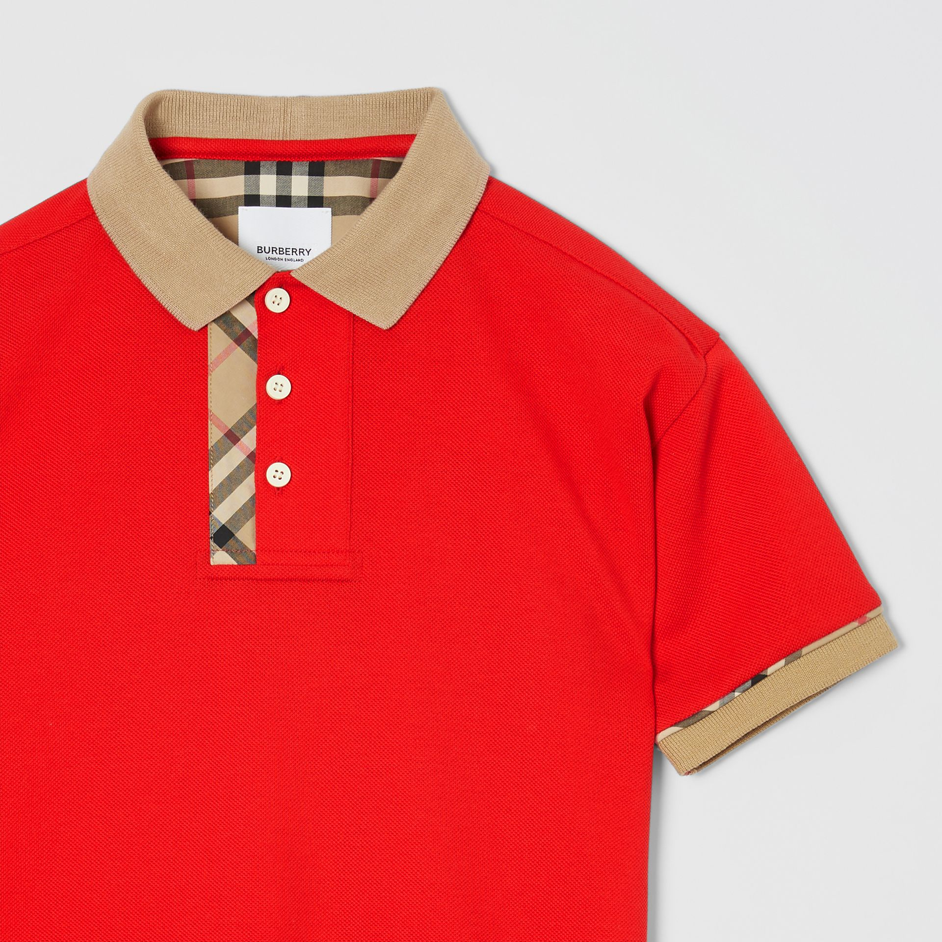 Vintage Check Trim Cotton Polo Shirt in Bright Red | Burberry - gallery image 4