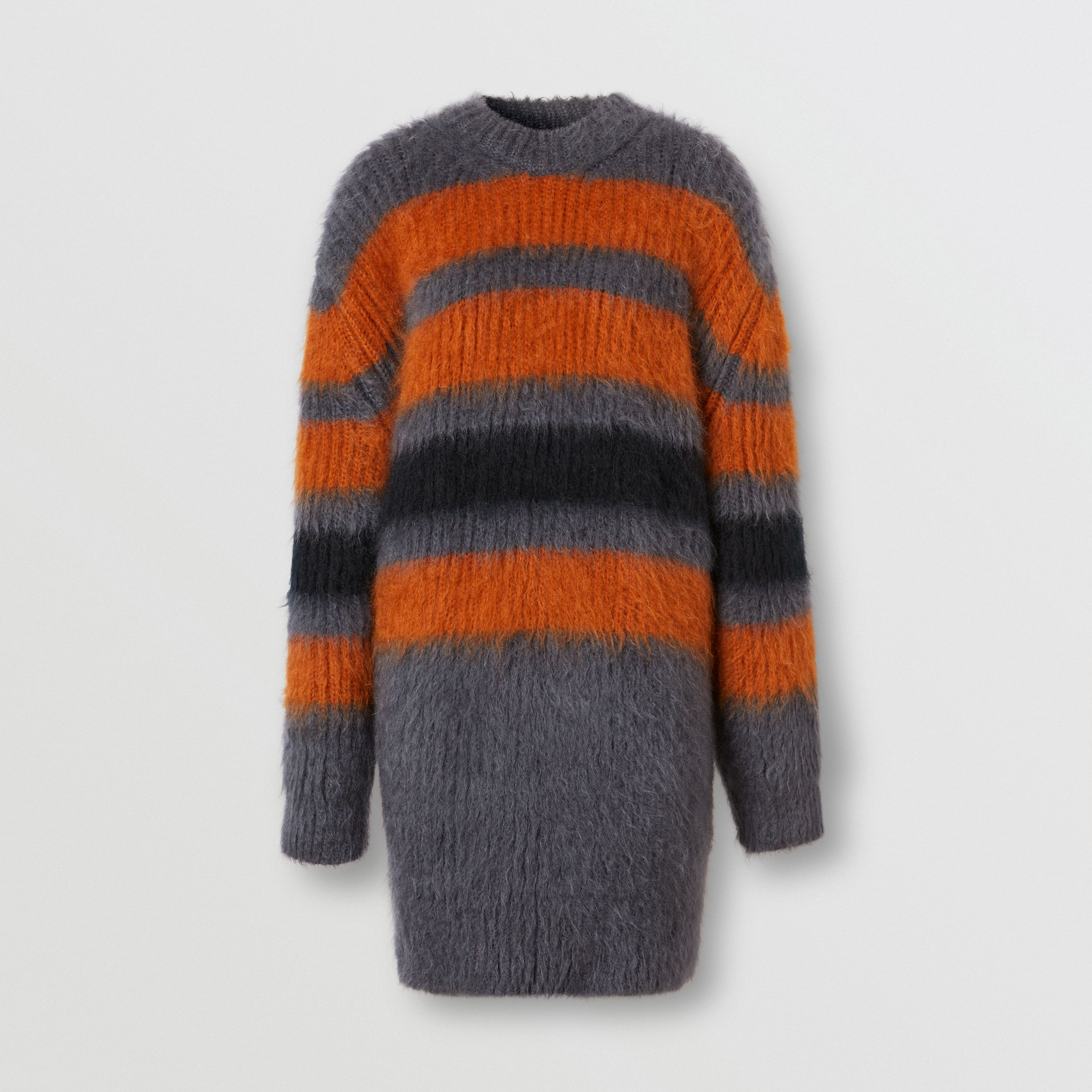 Stripe Intarsia Mohair Silk Oversized Sweater in Dark Grey Melange - Women | Burberry - 4