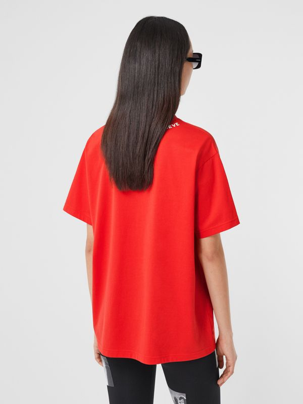 Quote Print Cotton Oversized T-shirt in Bright Red - Women | Burberry - cell image 2