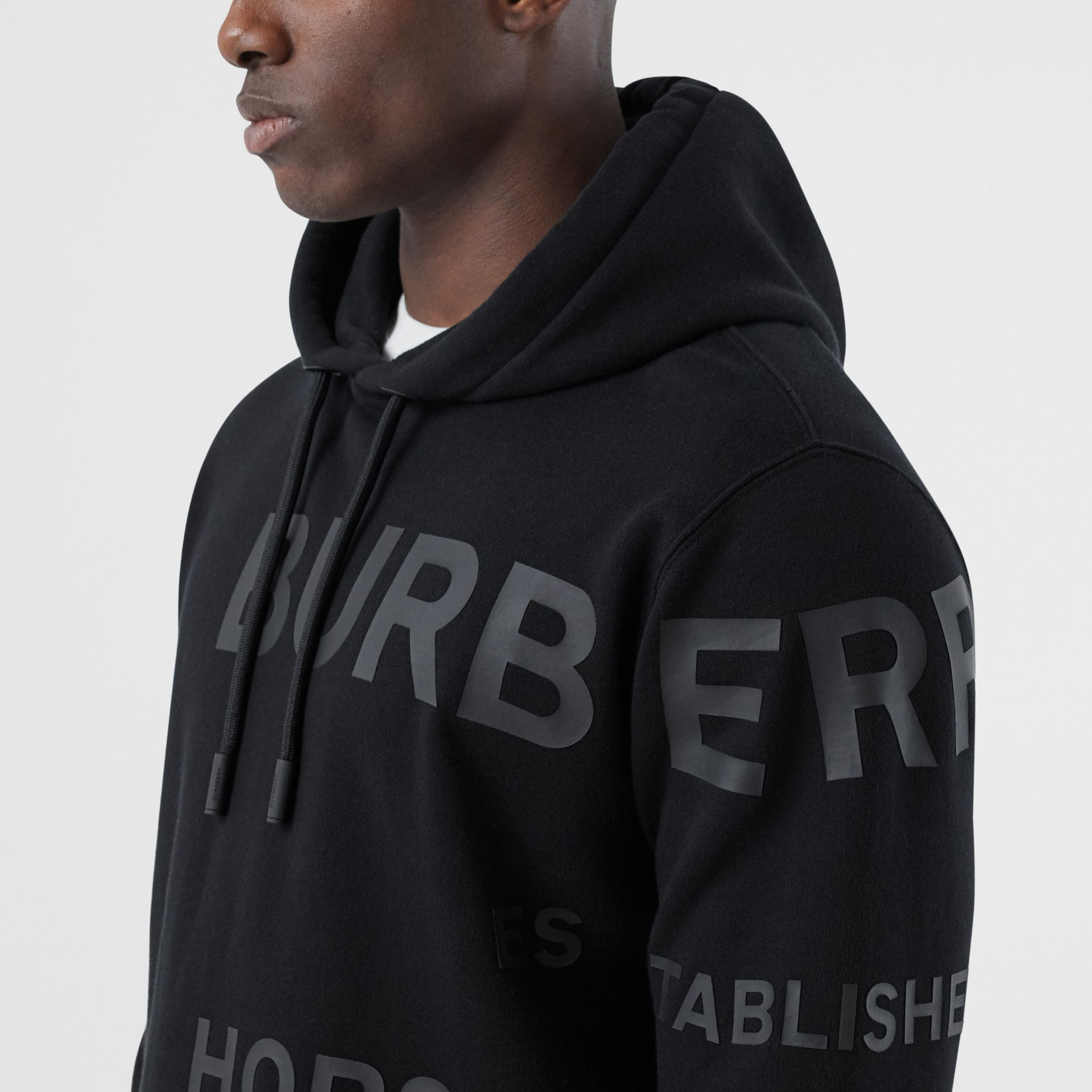 Horseferry Print Cotton Hoodie in Black | Burberry - gallery image 1