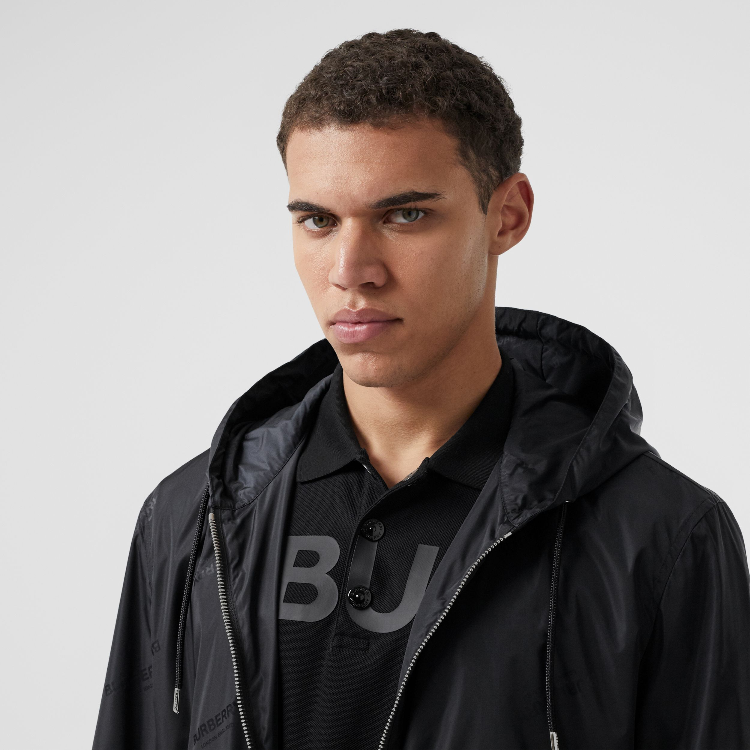 Logo Jacquard ECONYL® Hooded Jacket in Black - Men | Burberry - 2