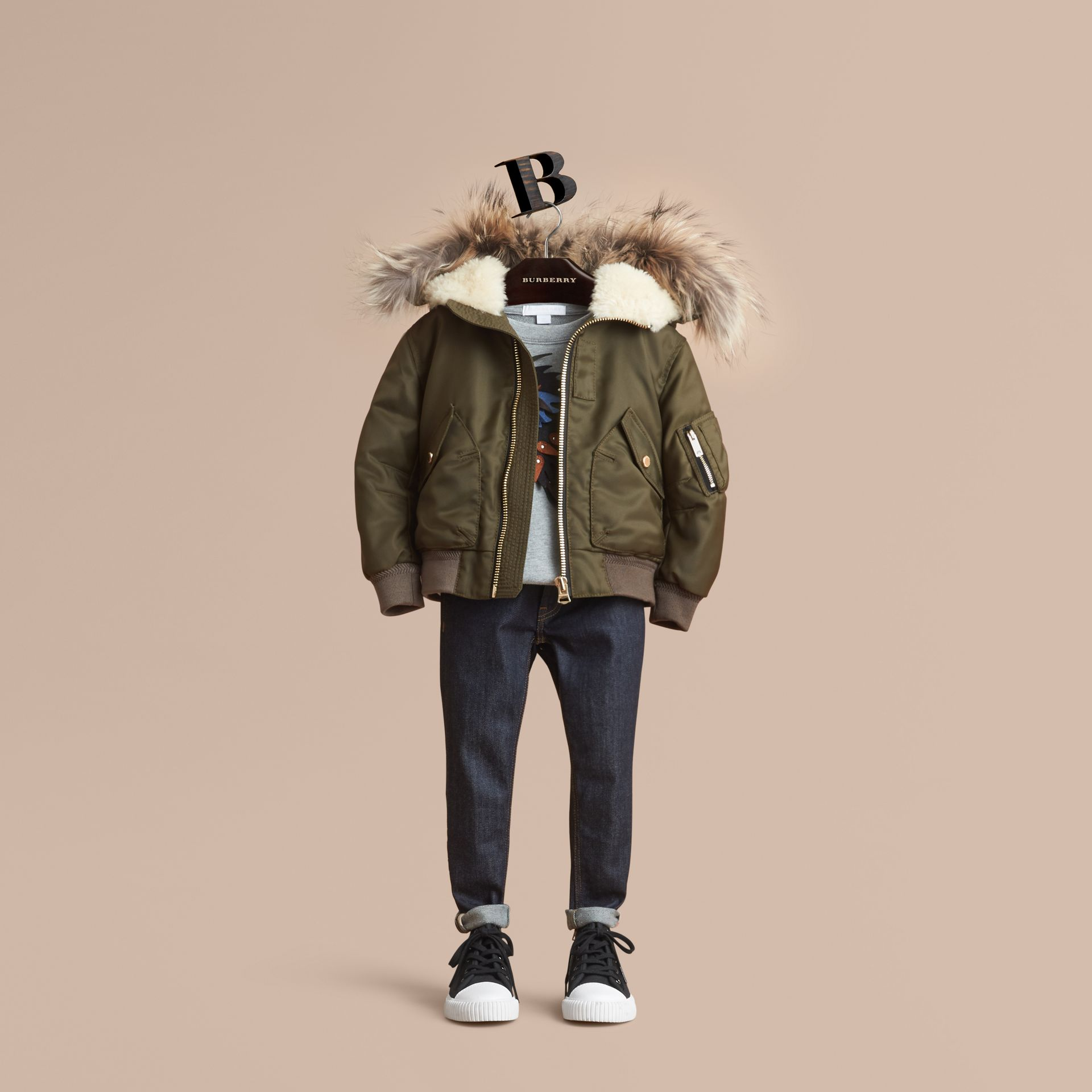 Detachable Raccoon Fur Trim Hood Bomber Jacket in Caper Green - Boy | Burberry - gallery image 1