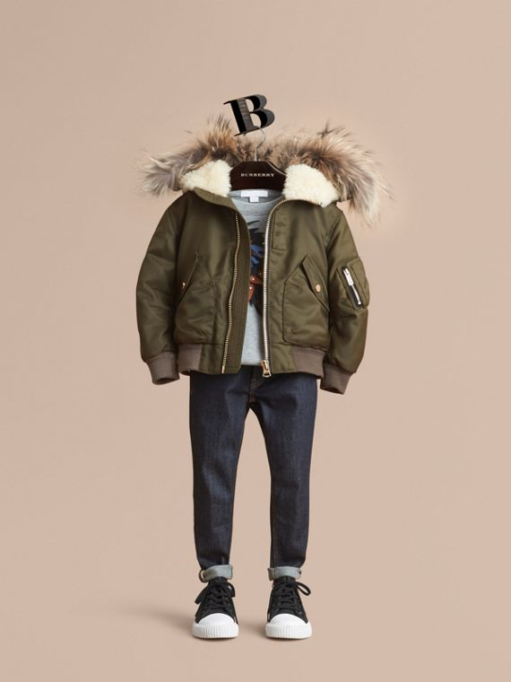 Detachable Raccoon Fur Trim Hood Bomber Jacket - Boy | Burberry Singapore