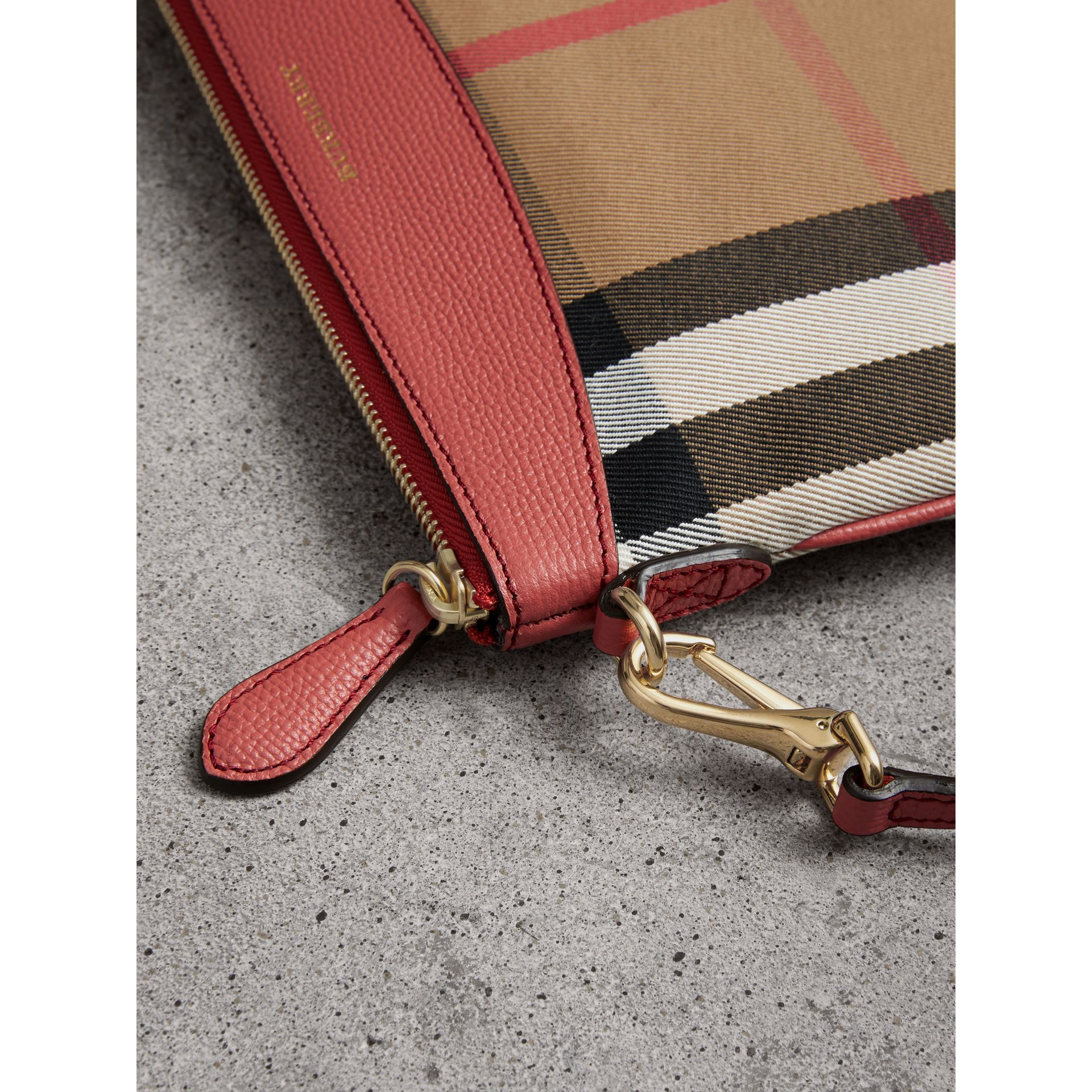 House Check and Leather Clutch Bag in Cinnamon Red - Women | Burberry Australia - gallery image 1