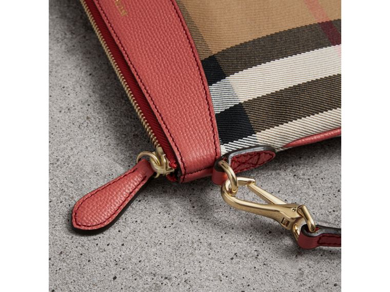 House Check and Leather Clutch Bag in Cinnamon Red - Women | Burberry United Kingdom - cell image 1