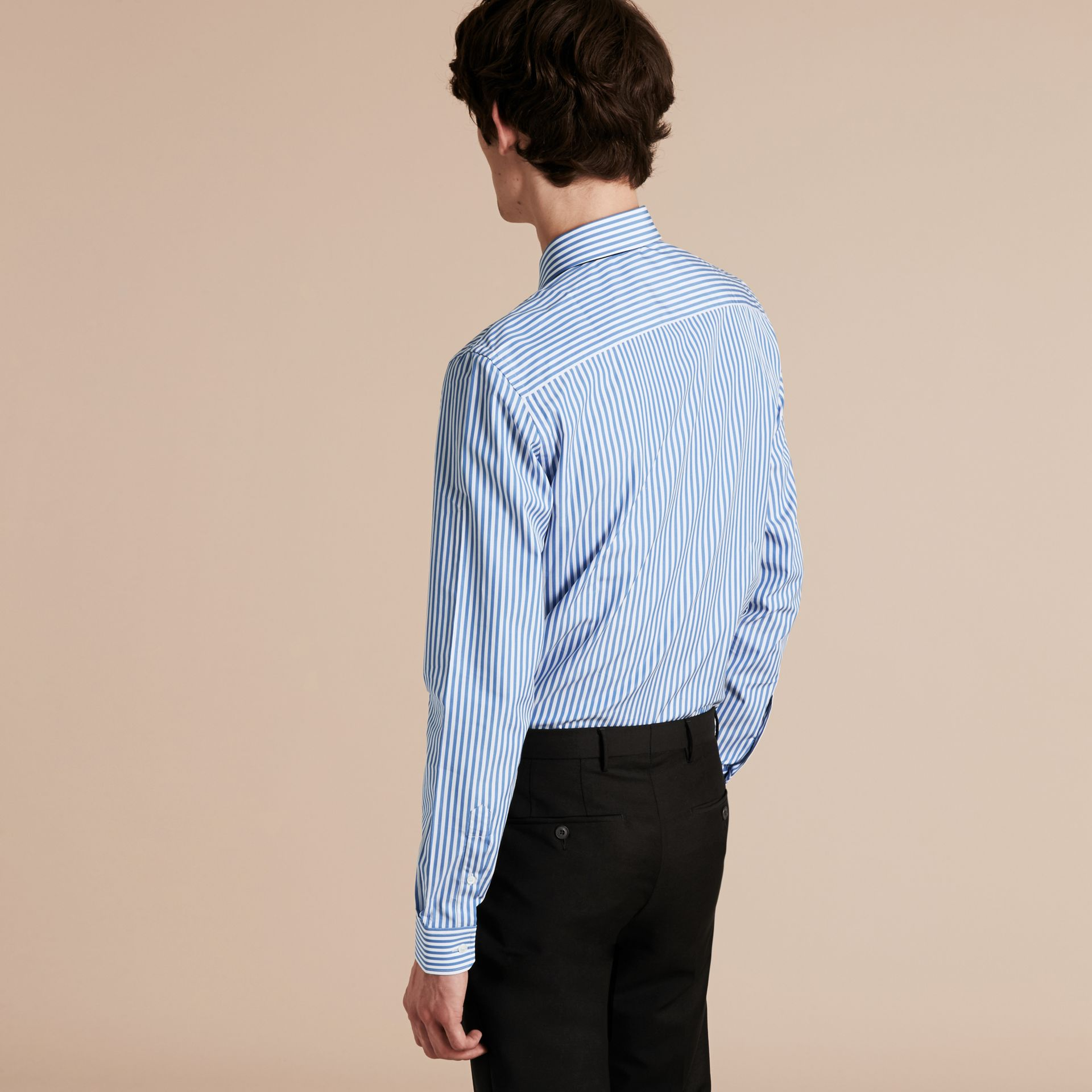Mid blue Slim Fit Striped Cotton Poplin Shirt Mid Blue - gallery image 3