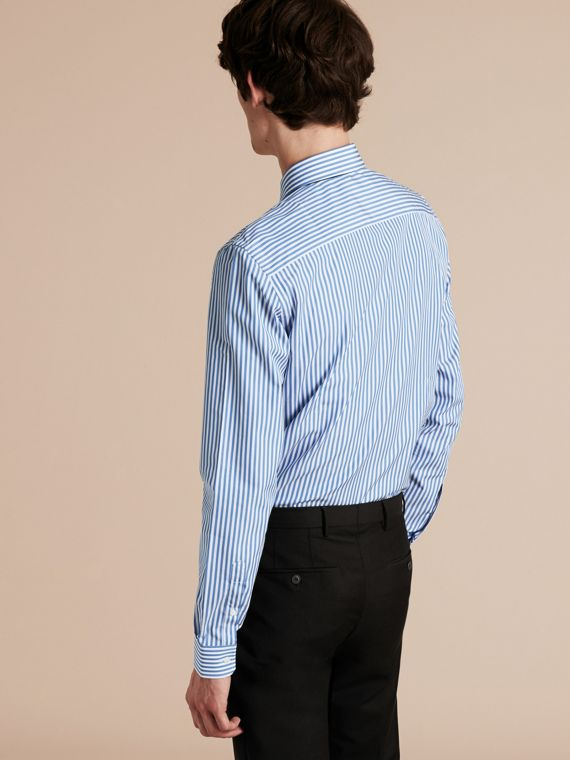 Mid blue Slim Fit Striped Cotton Poplin Shirt Mid Blue - cell image 2
