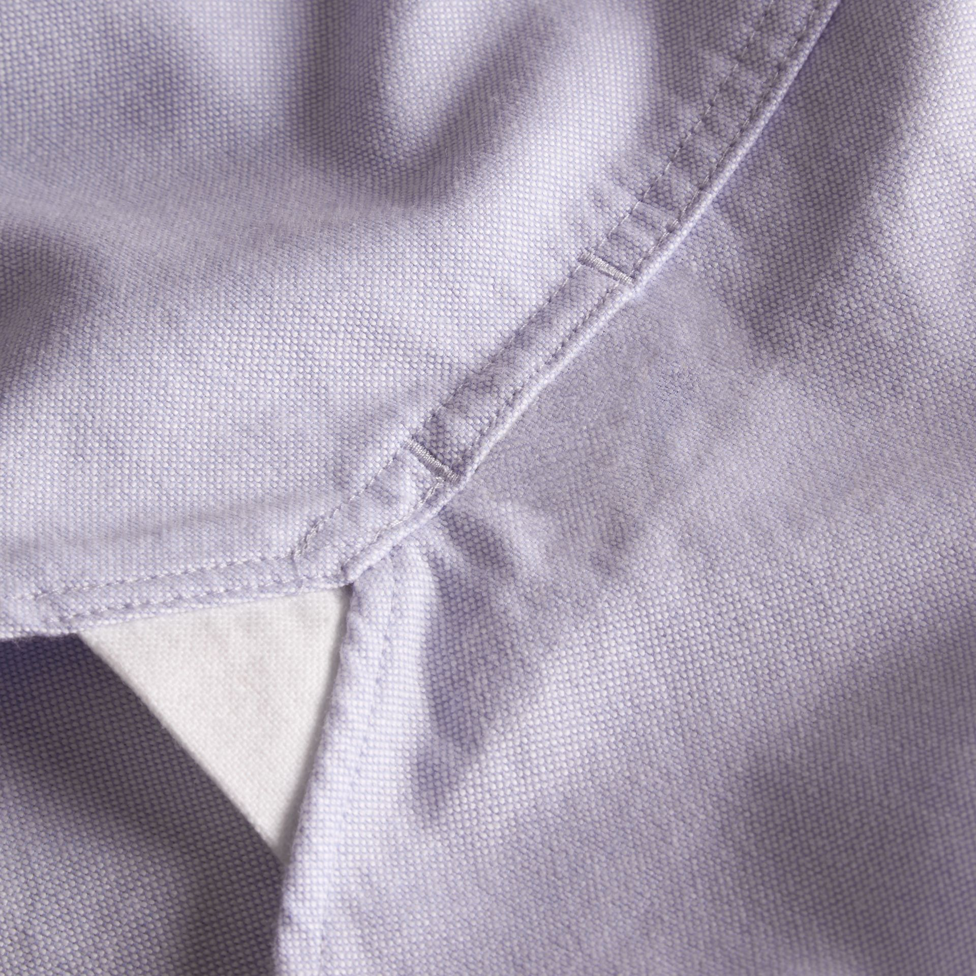 Check Detail Short-Sleeved Cotton Oxford Shirt in Cornflower Blue - Men | Burberry Hong Kong - gallery image 2