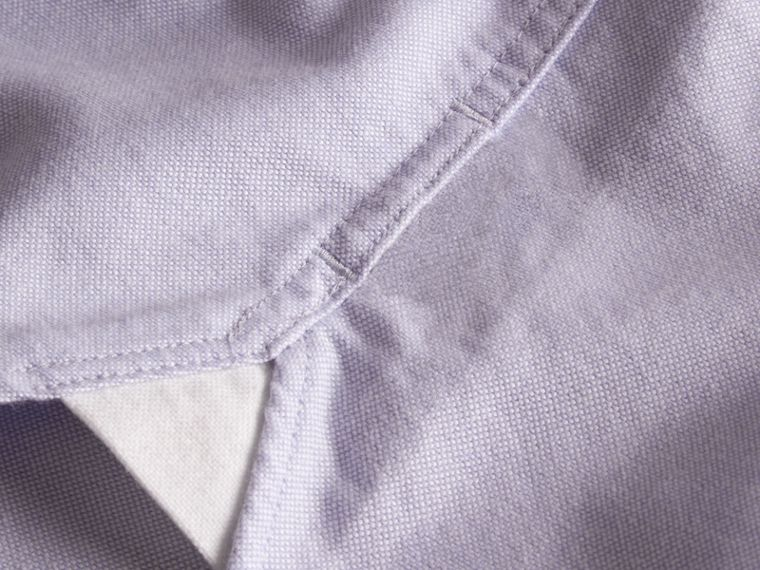 Check Detail Short-Sleeved Cotton Oxford Shirt in Cornflower Blue - Men | Burberry Hong Kong - cell image 1