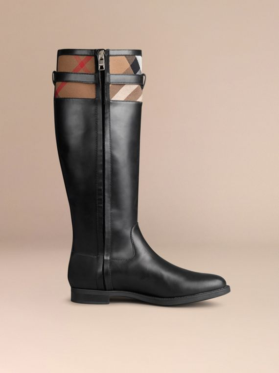 House Check Detail Riding Boots in Black - Women | Burberry - cell image 2