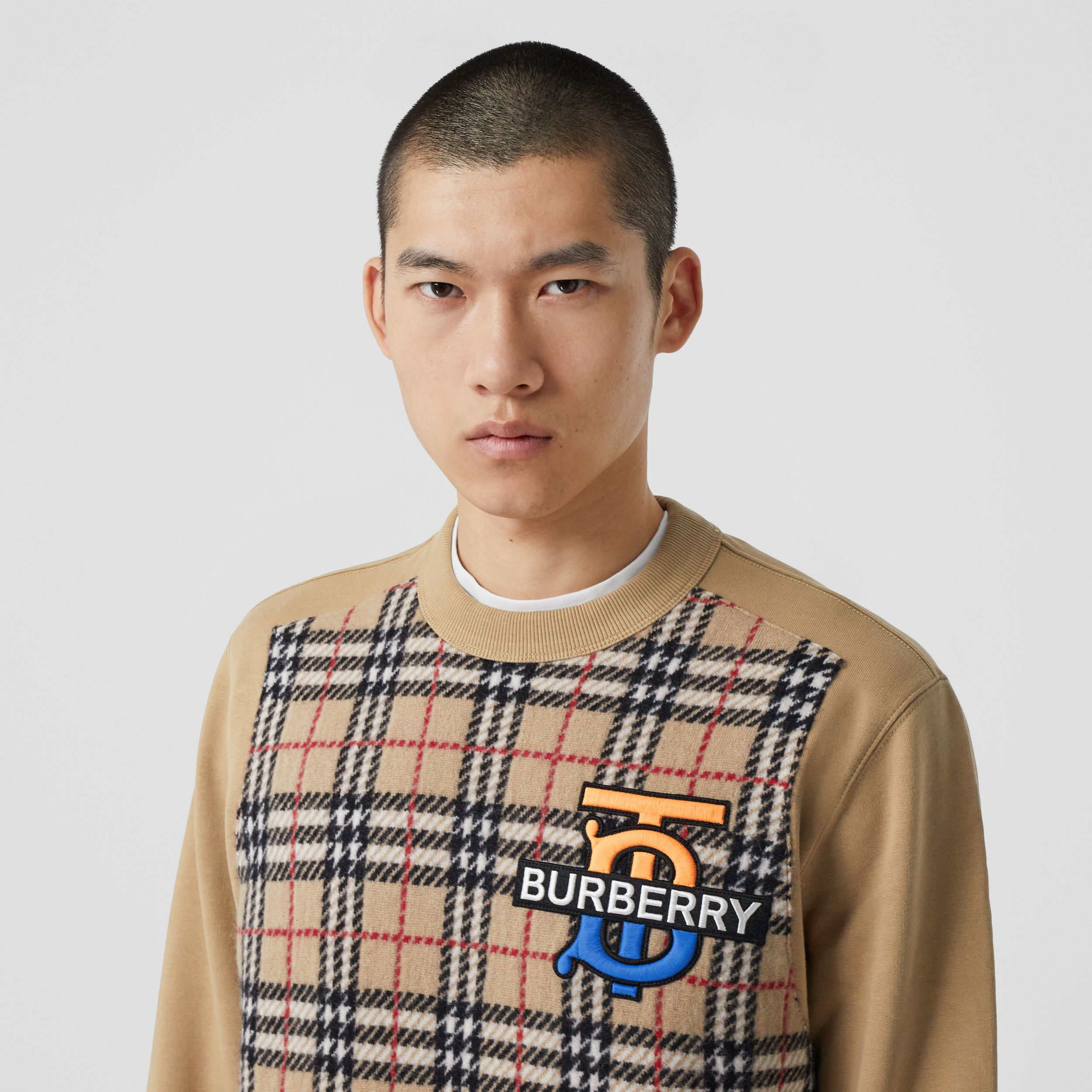 Monogram Motif Check Cashmere Panel Sweatshirt in Archive Beige - Men | Burberry - 2
