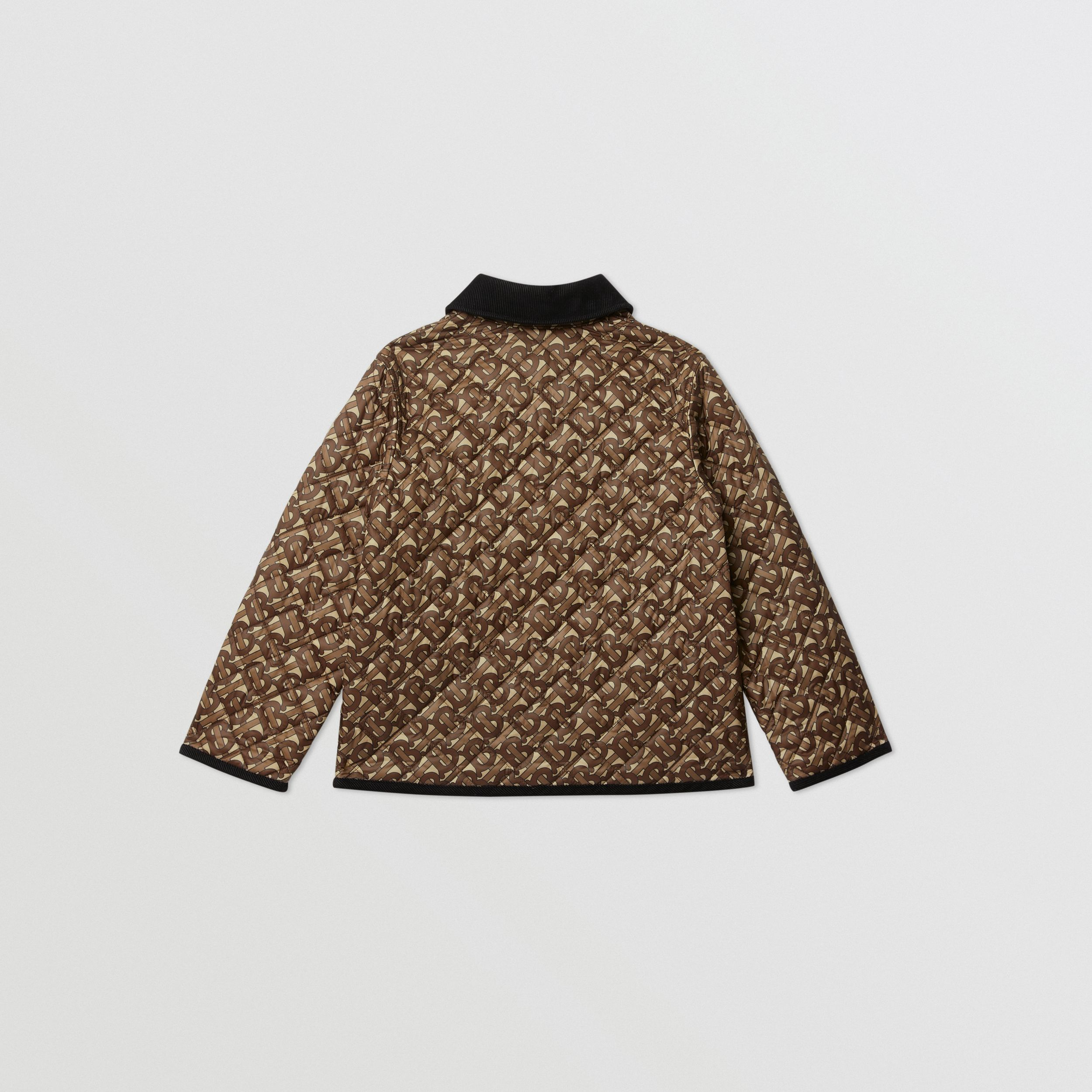 Monogram Print Diamond Quilted Jacket in Bridle Brown | Burberry - 4