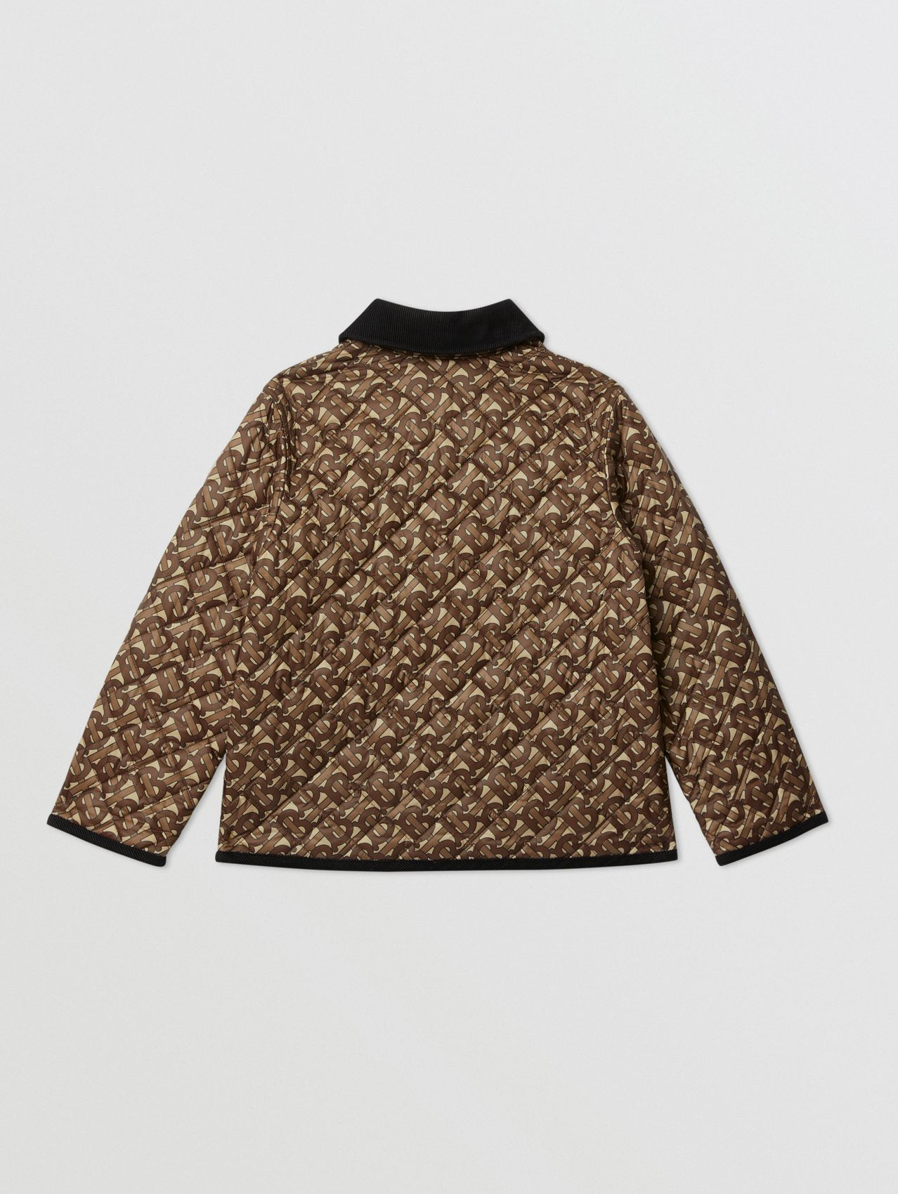 Monogram Print Diamond Quilted Jacket in Bridle Brown
