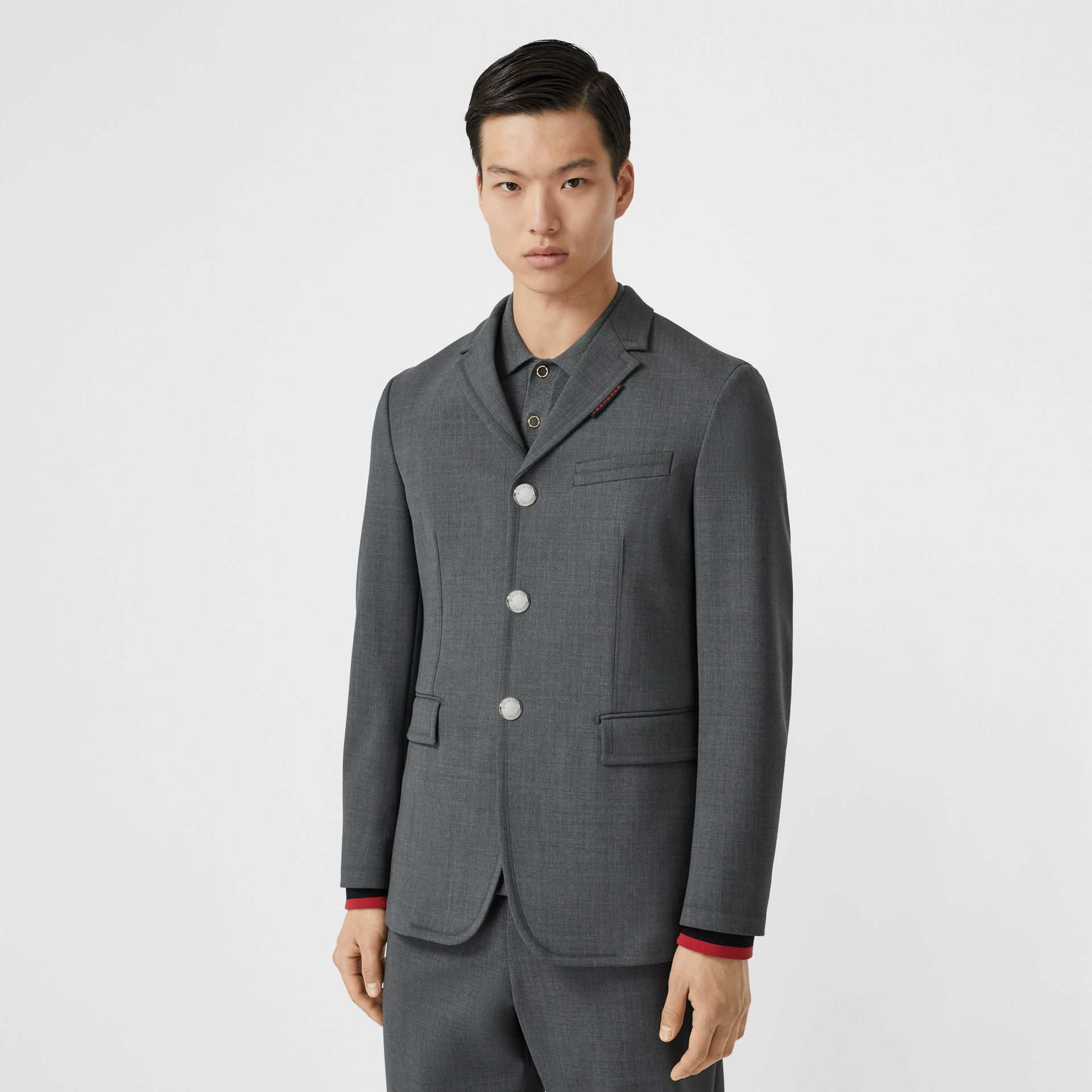 Stripe Detail Stretch Wool Neoprene Tailored Jacket in Dark Grey Melange - Men | Burberry United Kingdom - gallery image 5