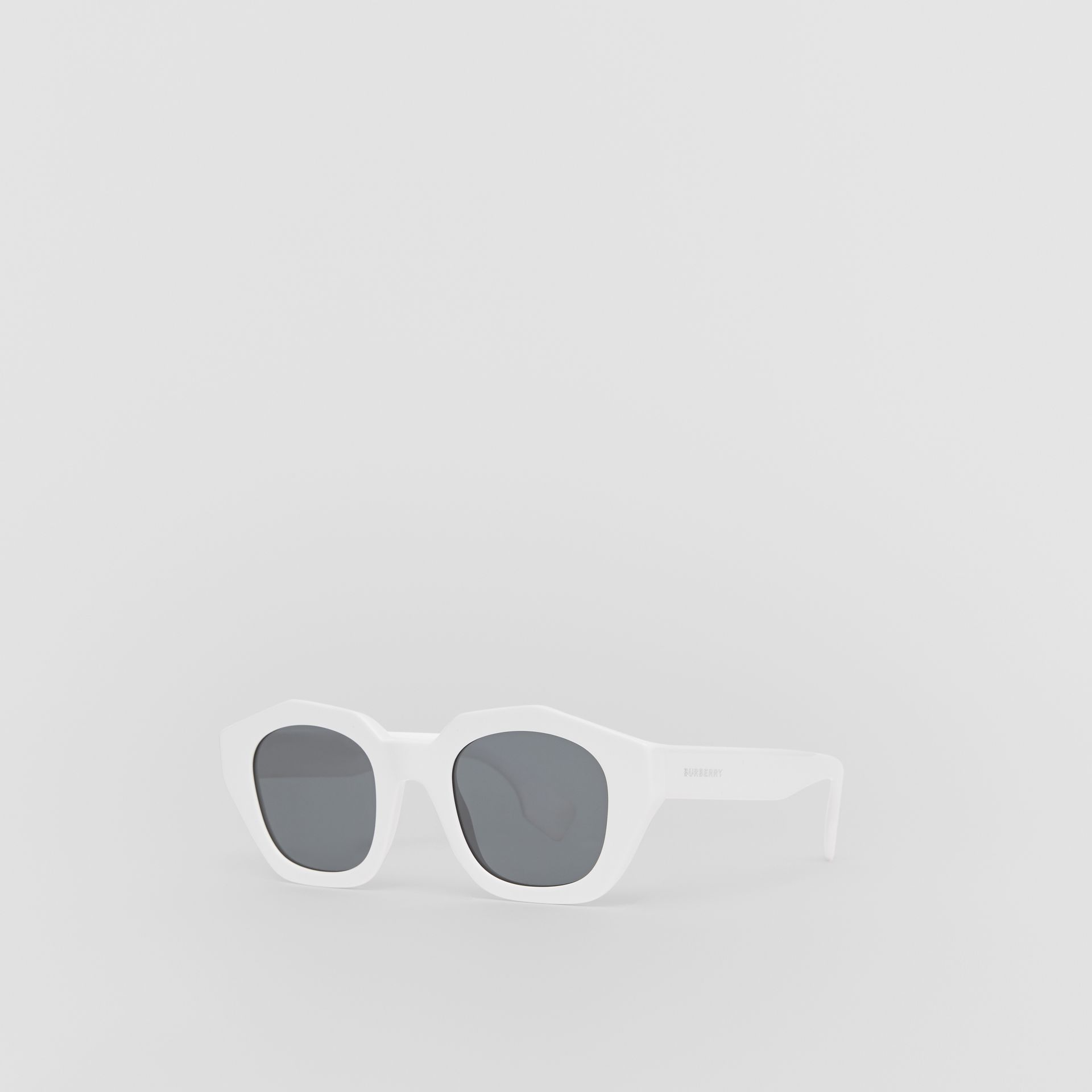 Geometric Frame Sunglasses in White - Women | Burberry Canada - gallery image 5