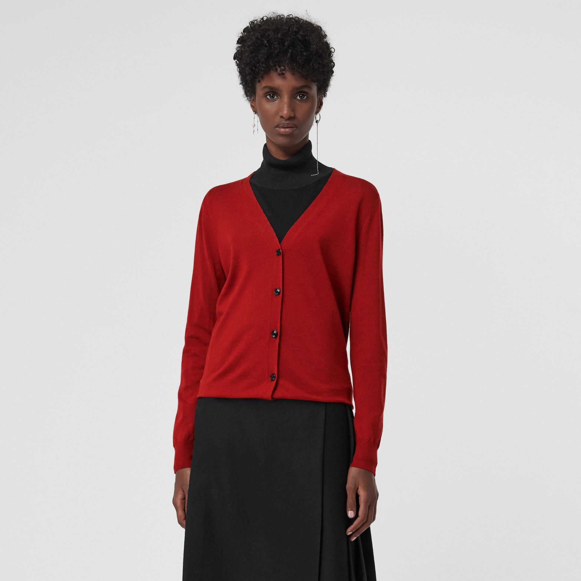 Check Detail Merino Wool Cardigan in Parade Red - Women | Burberry - gallery image 4