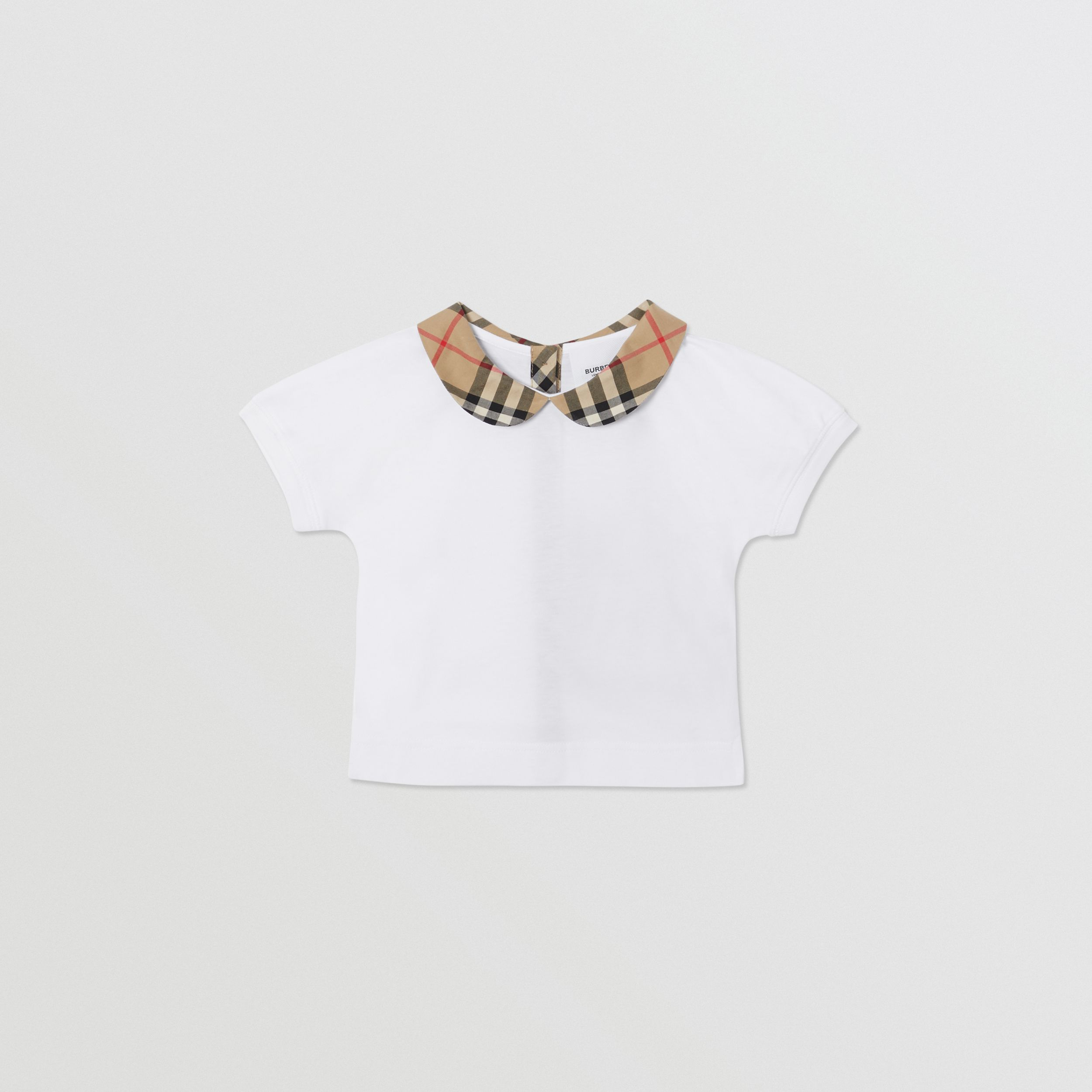 Vintage Check Trim Cotton T-shirt in White - Children | Burberry - 1