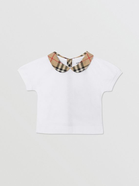 Vintage Check Trim Cotton T-shirt in White