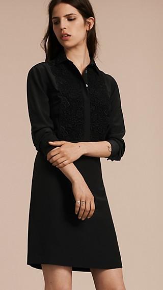 Floral Lace Bib Silk Shirt Dress