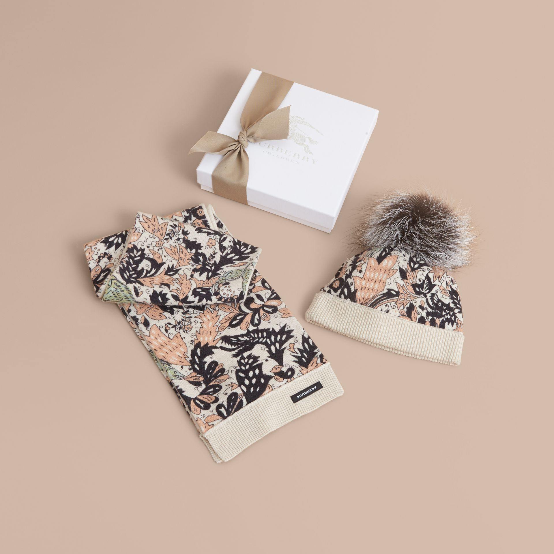 Beasts Print Cashmere and Fox Fur Two-piece Gift Set in Antique Taupe Pink | Burberry - gallery image 1