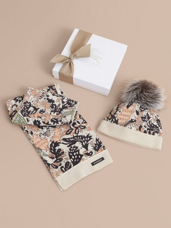 Beasts Print Cashmere and Fox Fur Two-piece Gift Set in Antique Taupe Pink