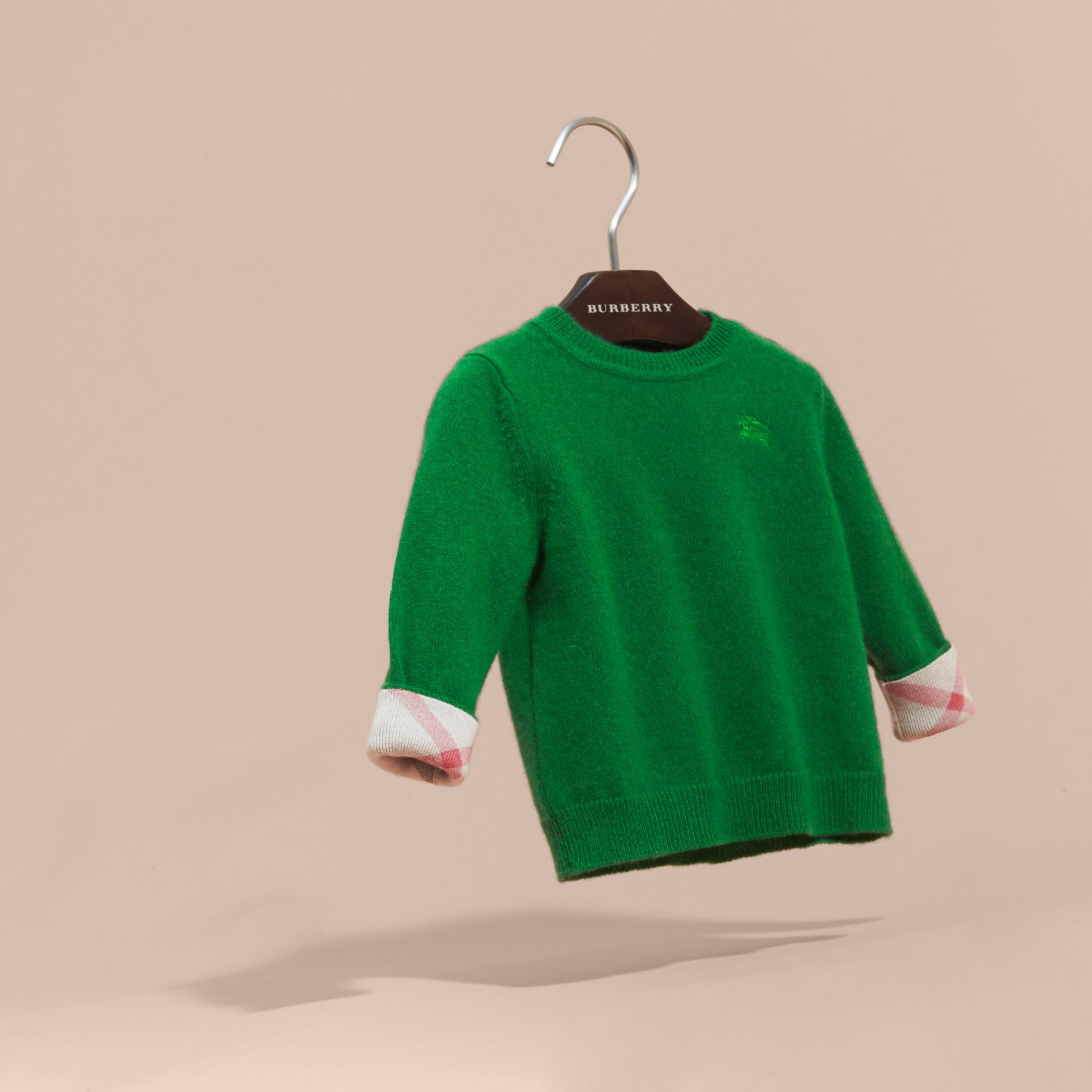 Check Detail Cashmere Sweater in Bright Pigment Green - gallery image 3