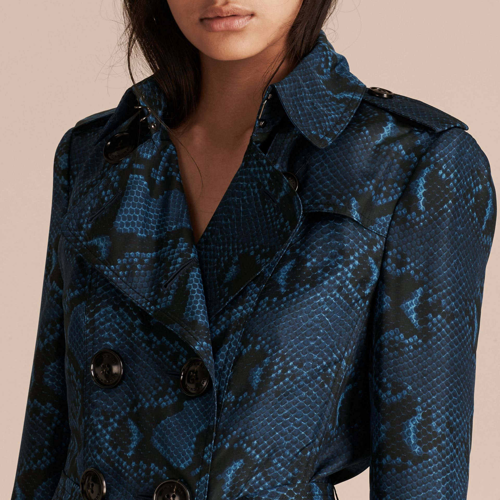 Mineral blue Python Print Silk Trench Coat Mineral Blue - gallery image 6