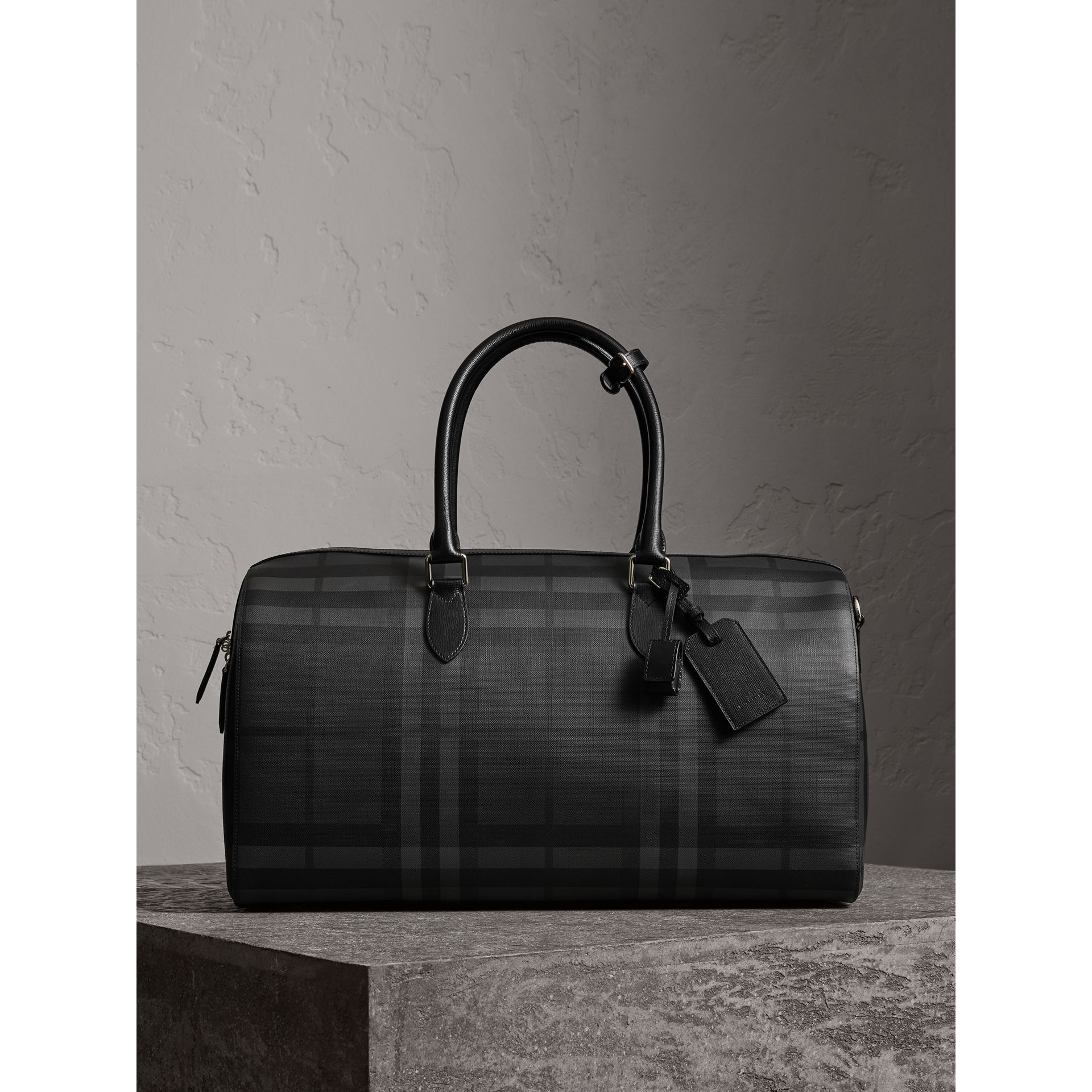 Leather Trim London Check Holdall in Charcoal/black - Men | Burberry United Kingdom - gallery image 0