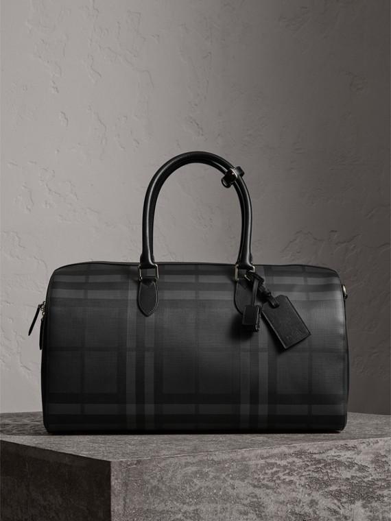 皮製飾邊 London 格紋手提包 (炭灰色/黑色)