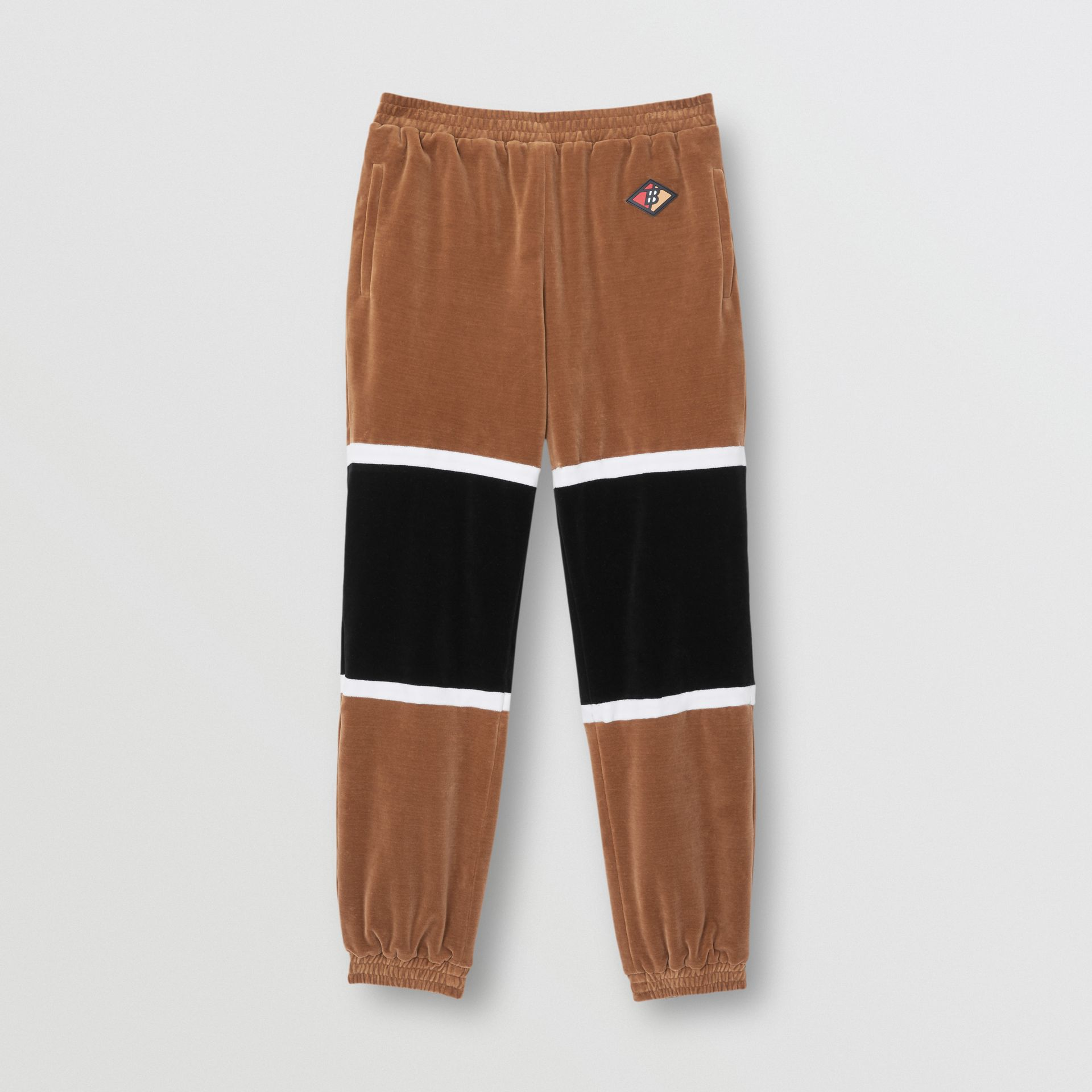 Logo Graphic Striped Chenille Trackpants in Dark Walnut - Men | Burberry - gallery image 3
