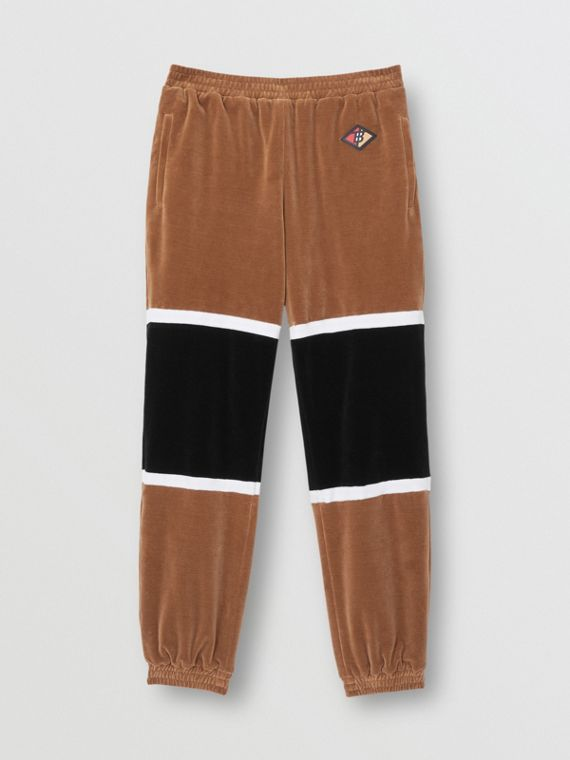 Logo Graphic Striped Chenille Trackpants in Dark Walnut