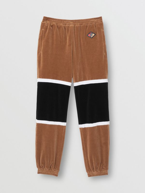 Logo Graphic Striped Chenille Trackpants in Dark Walnut - Men | Burberry - cell image 3