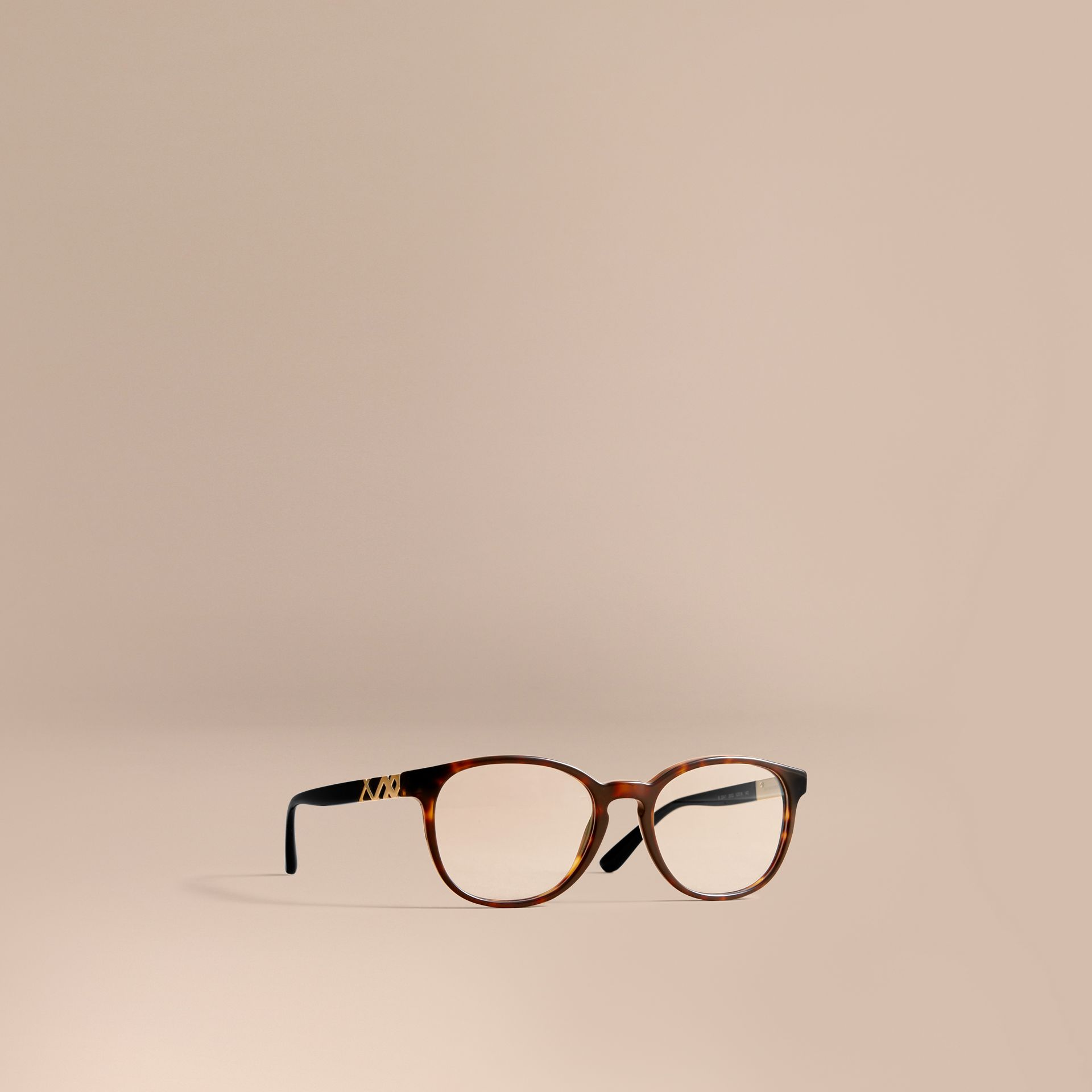 Check Detail Round Optical Frames in Tortoiseshell - gallery image 1