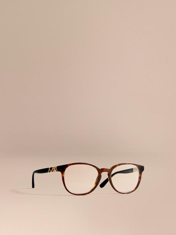 Runde Brille mit Karodetail Schildpattfarben