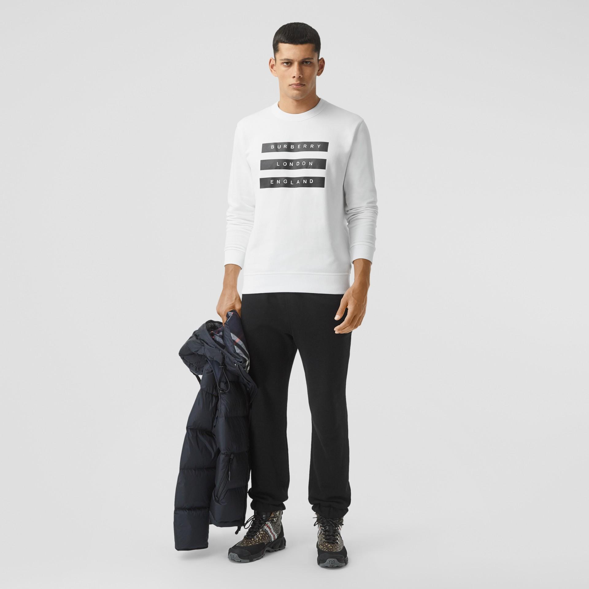Tape Print Cotton Sweatshirt in White - Men | Burberry - gallery image 0