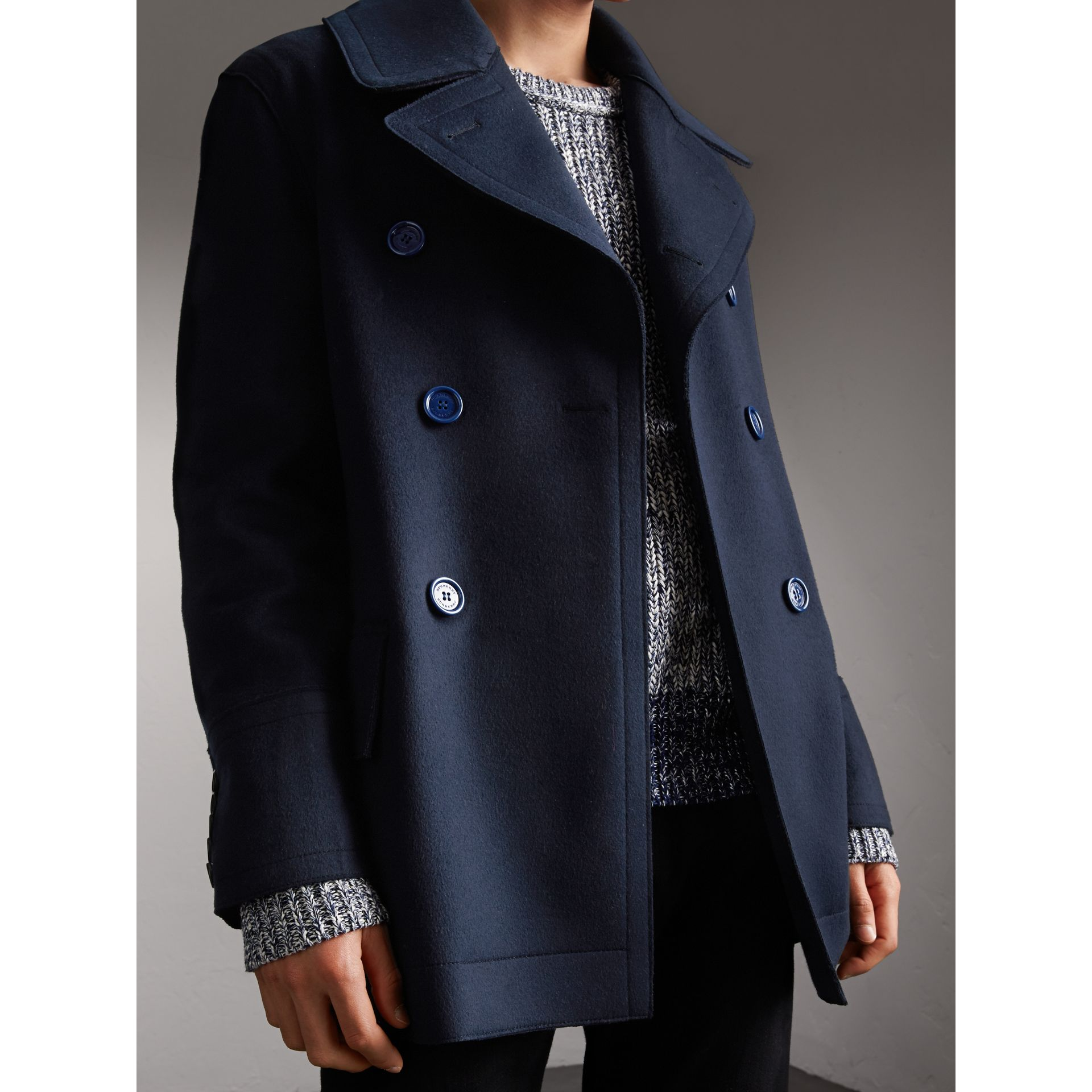 Resin Button Wool Pea Coat in Military Navy - Men | Burberry - gallery image 7