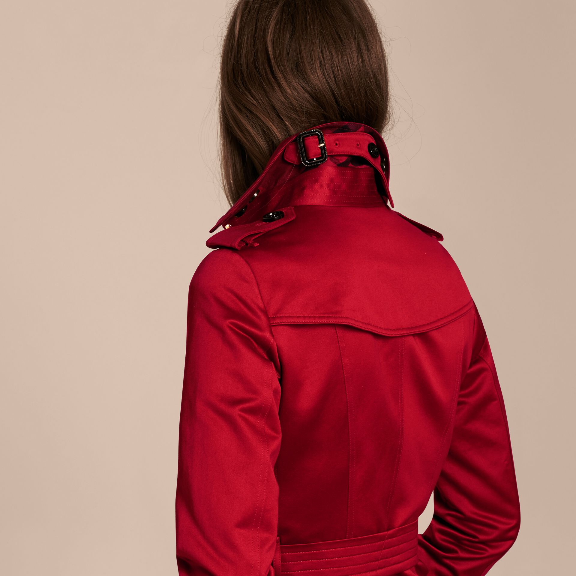 Parade red Cotton Sateen Trench Coat - gallery image 6