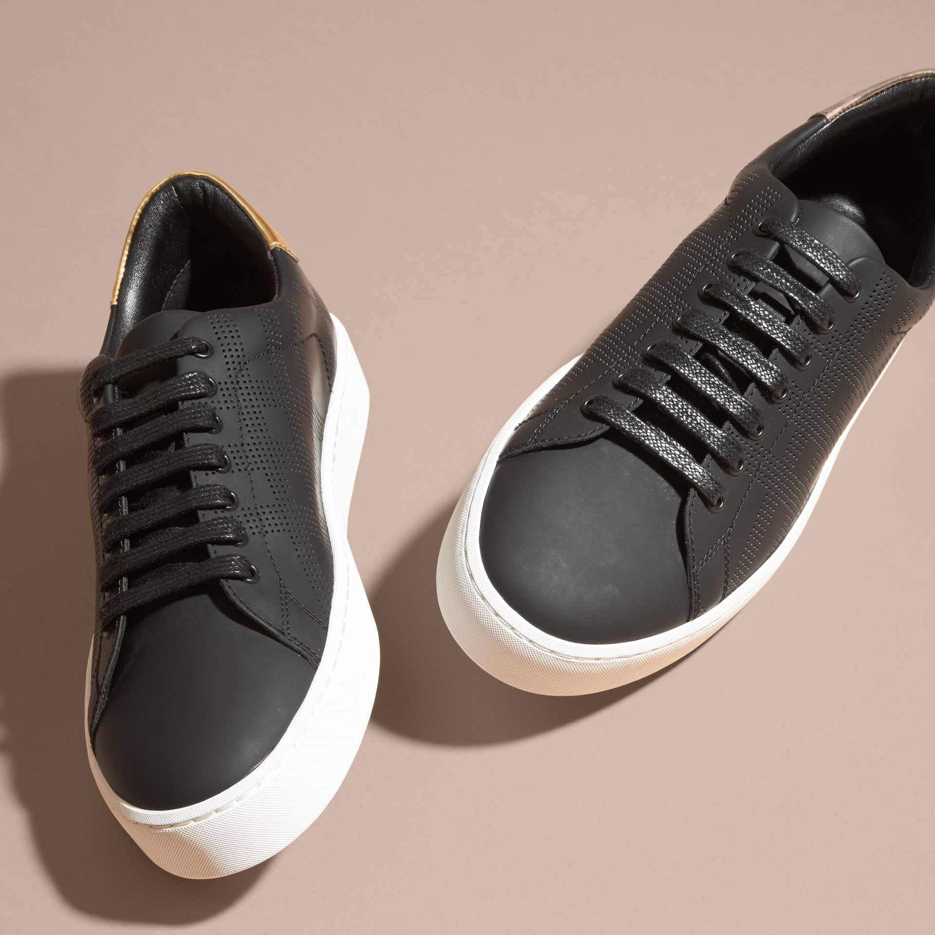 Perforated Check Leather Trainers - gallery image 4