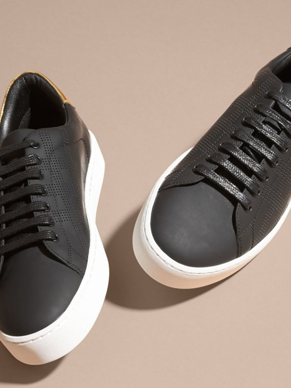 Perforated Check Leather Trainers - cell image 3