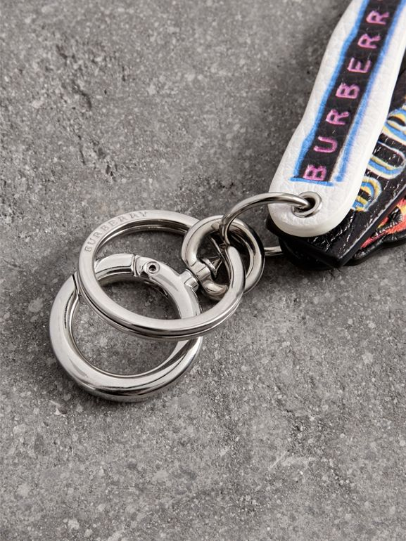 Tag Print Leather Key Chain in Multicolour | Burberry - cell image 1