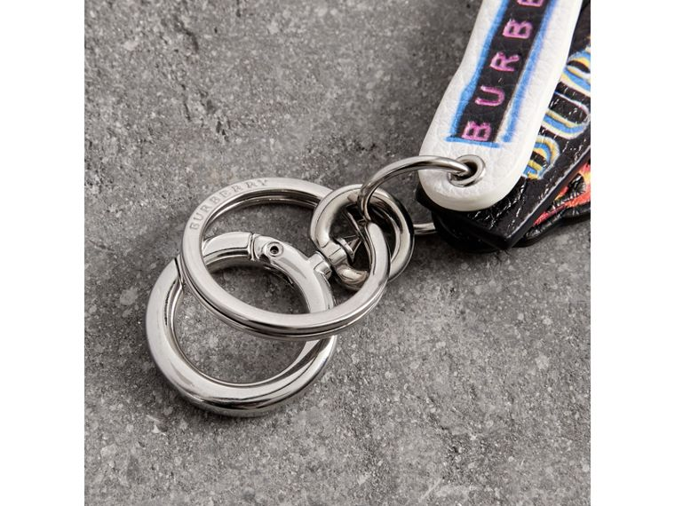 Tag Print Leather Key Chain in Multicolour | Burberry Canada - cell image 1