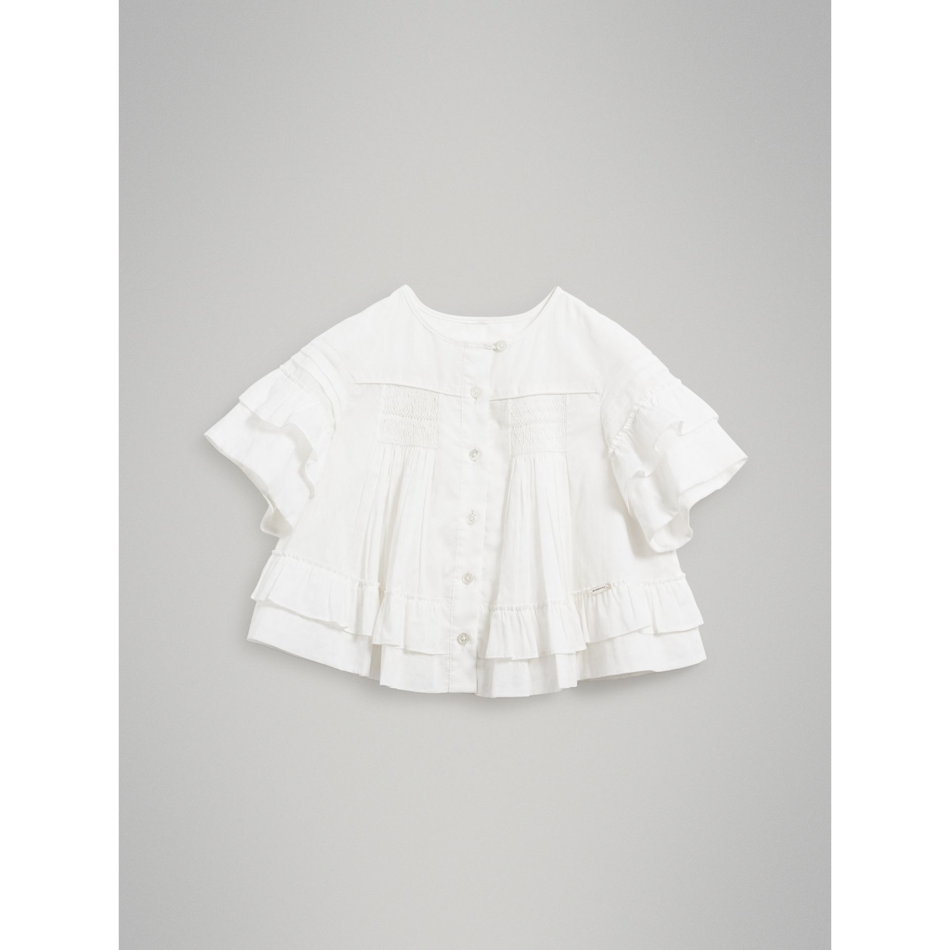 Smocked Cotton Shirt in White - Girl | Burberry United Kingdom - gallery image 0