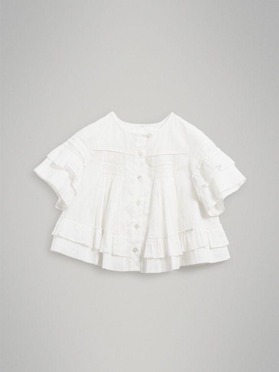 Smocked Cotton Shirt in White