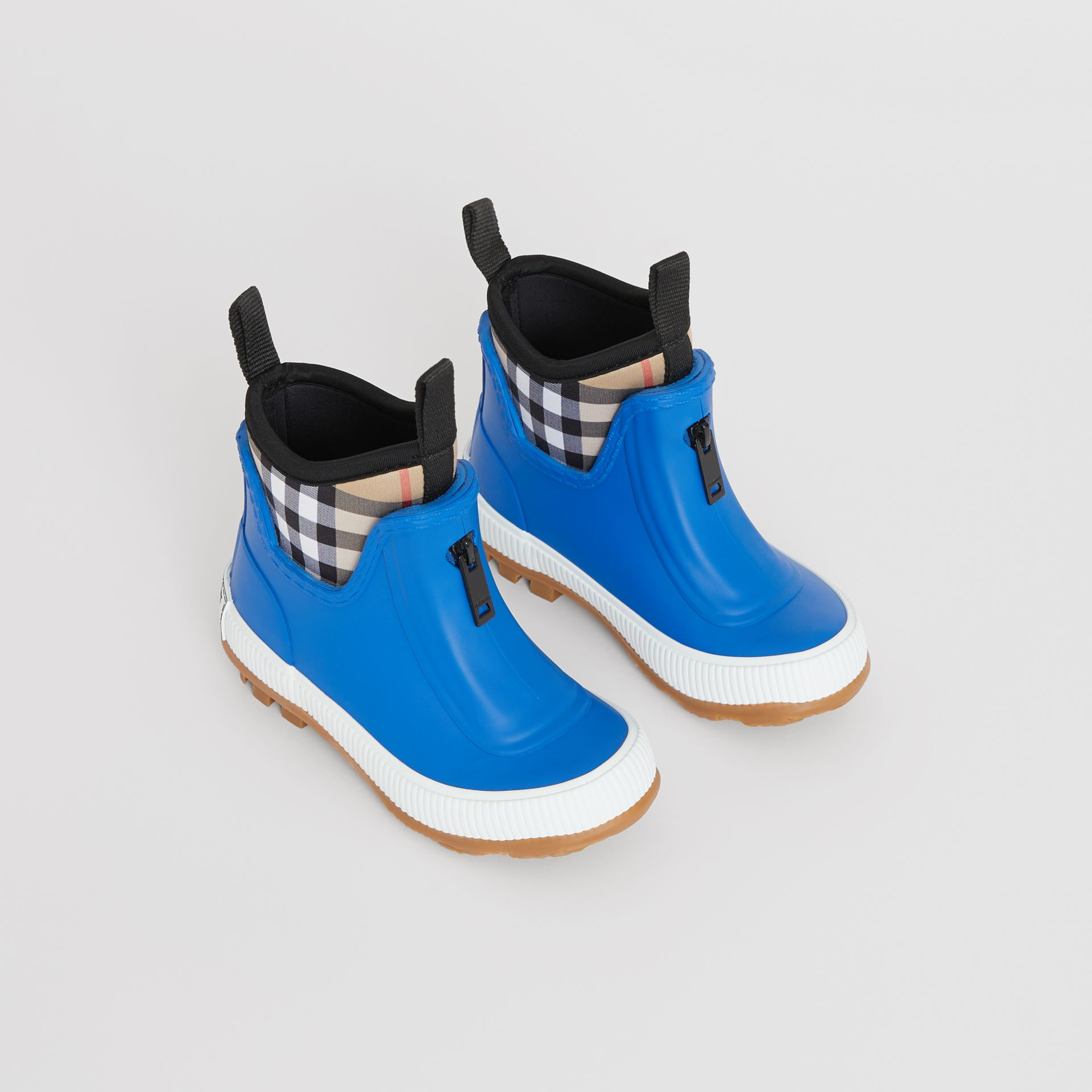 Vintage Check Neoprene and Rubber Rain Boots in Bright Canvas Blue - Children | Burberry United Kingdom - gallery image 0