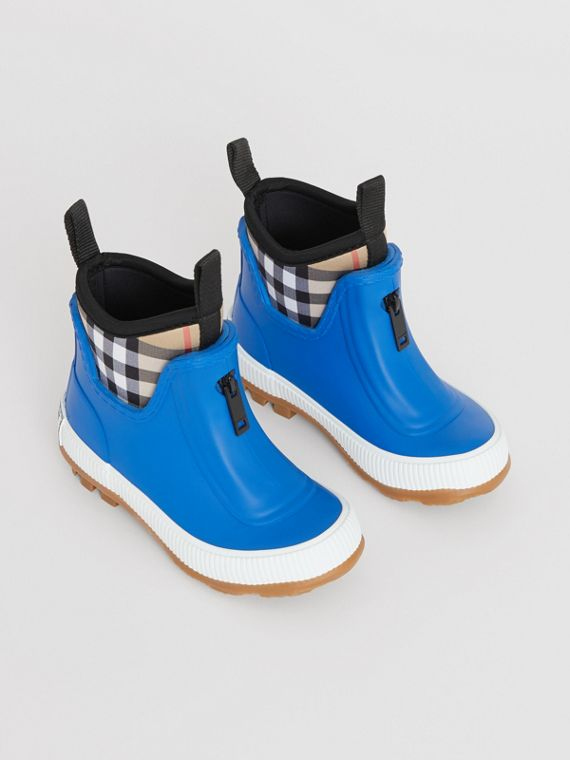 Vintage Check Neoprene and Rubber Rain Boots in Bright Canvas Blue