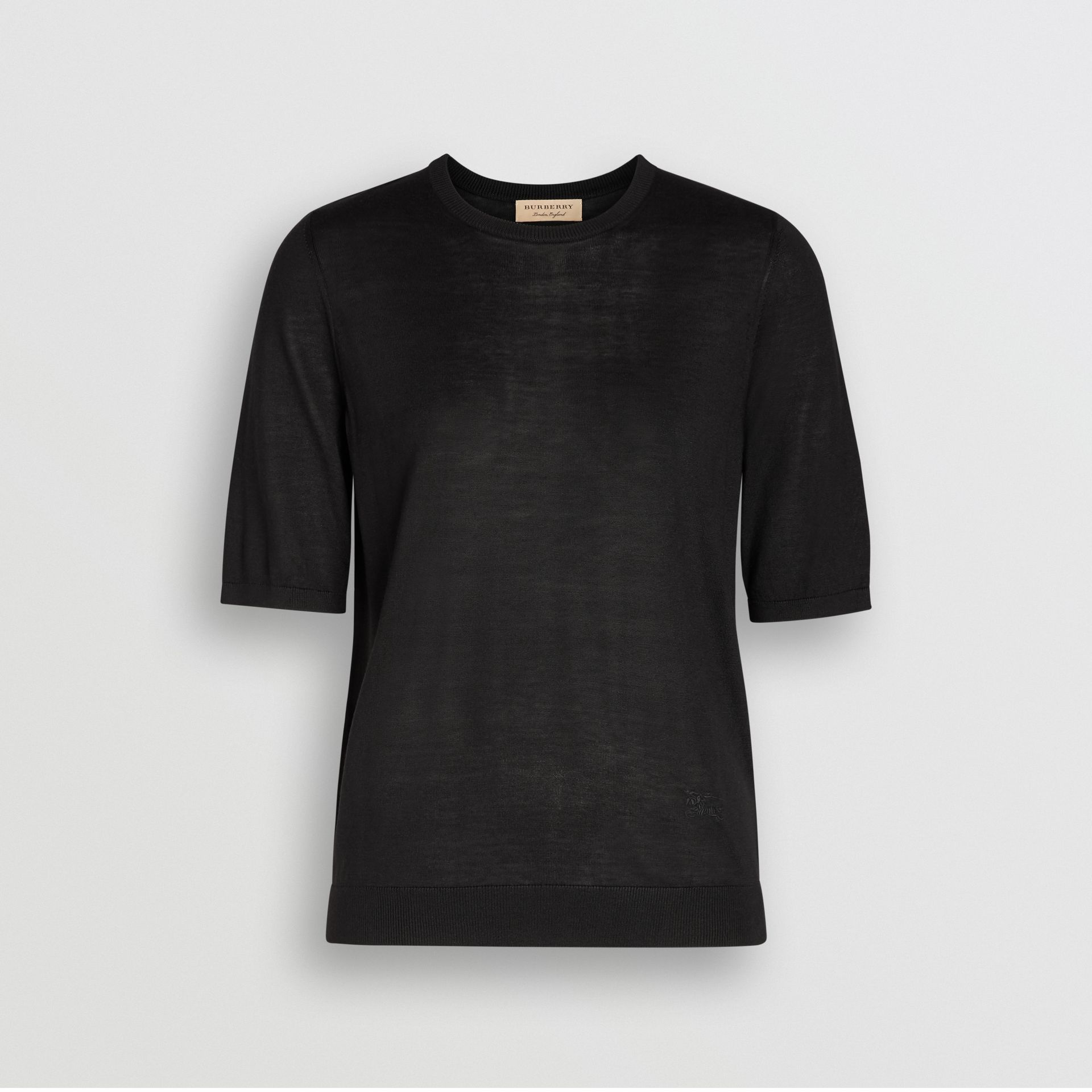 Short-sleeve Silk Cashmere Sweater in Black - Women | Burberry United Kingdom - gallery image 3