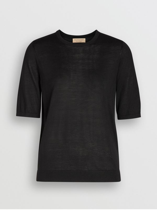 Short-sleeve Silk Cashmere Sweater in Black - Women | Burberry - cell image 3