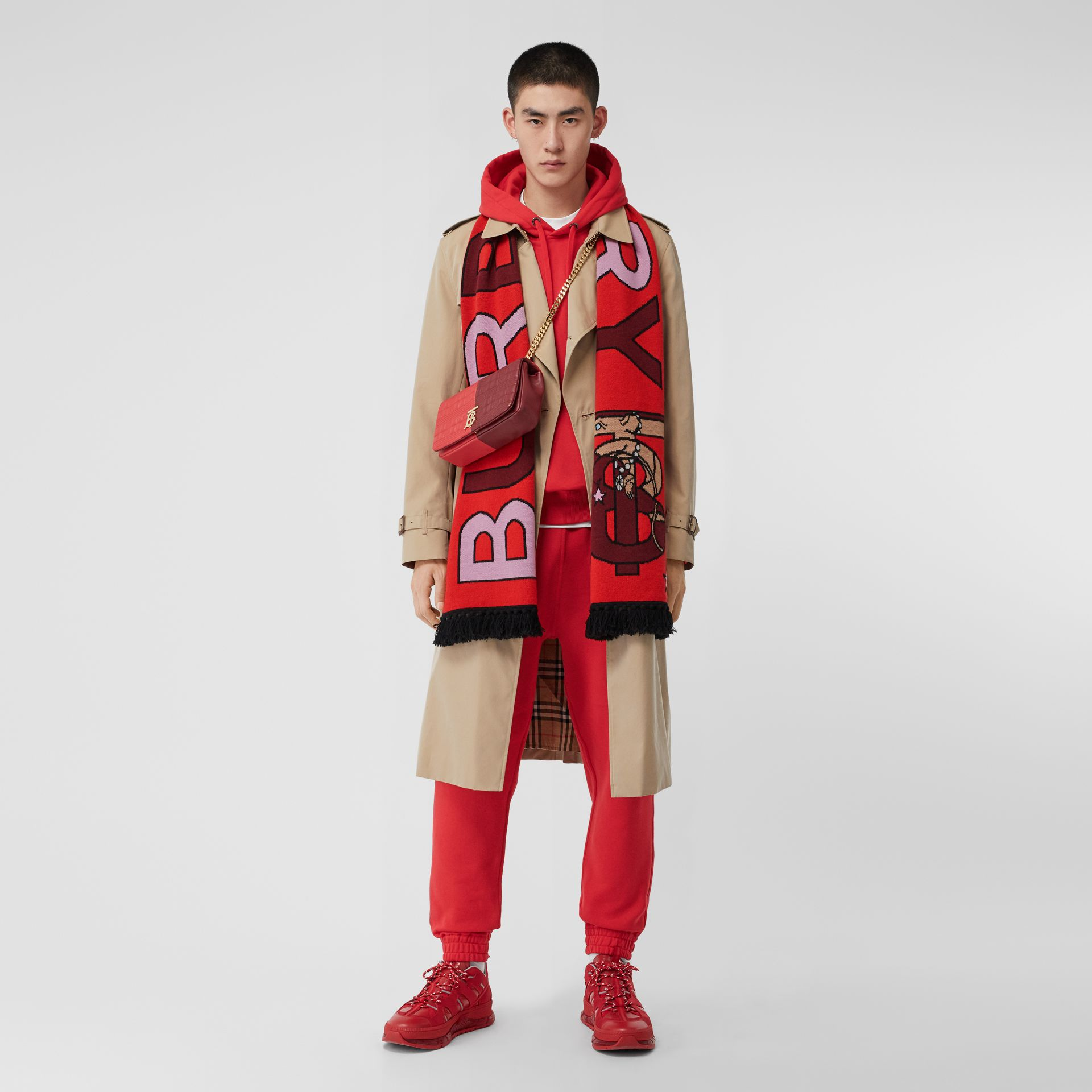 Logo and Monogram Motif Intarsia Cashmere Scarf in Bright Red | Burberry United States - gallery image 7