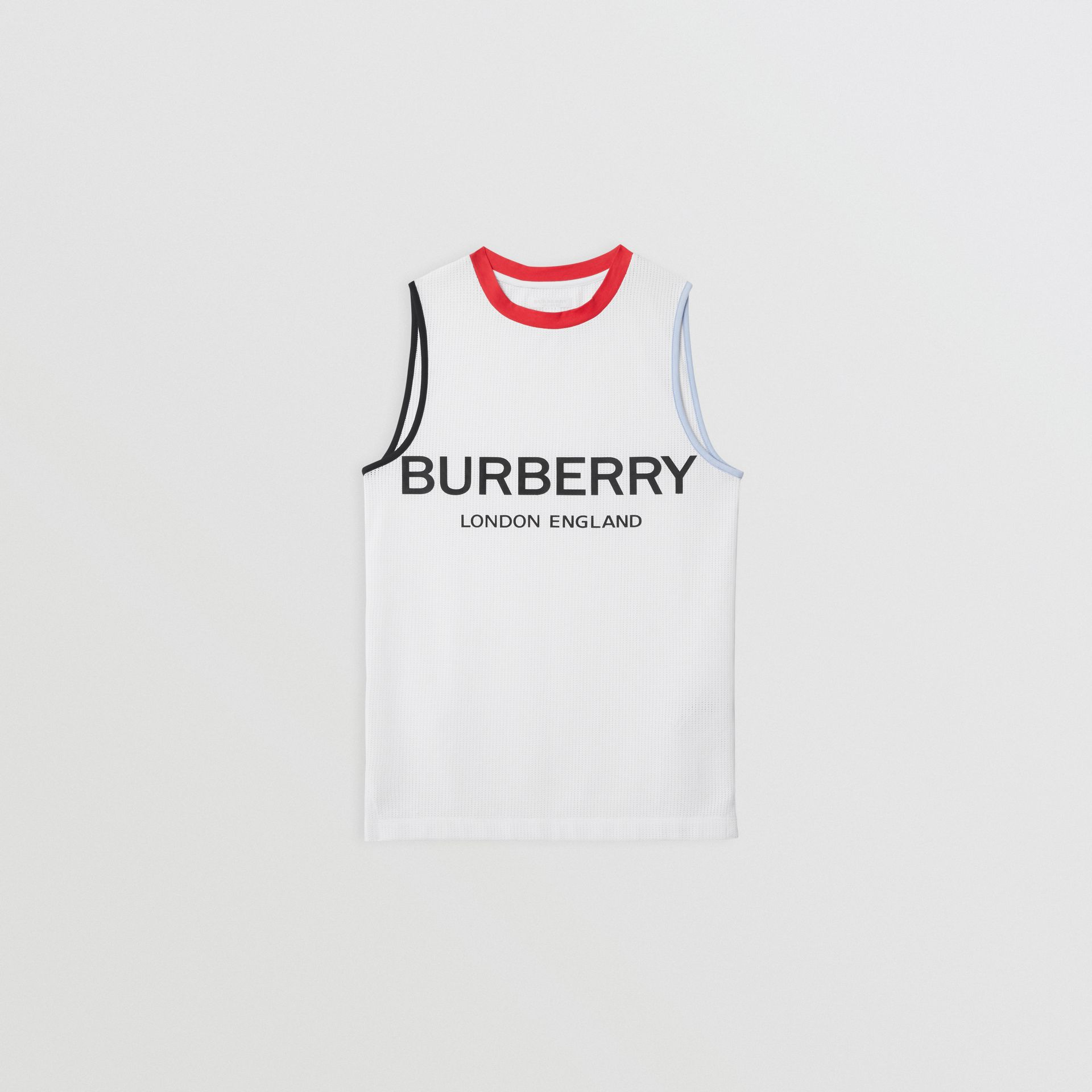 Logo Print Mesh Vest in White | Burberry Singapore - gallery image 0