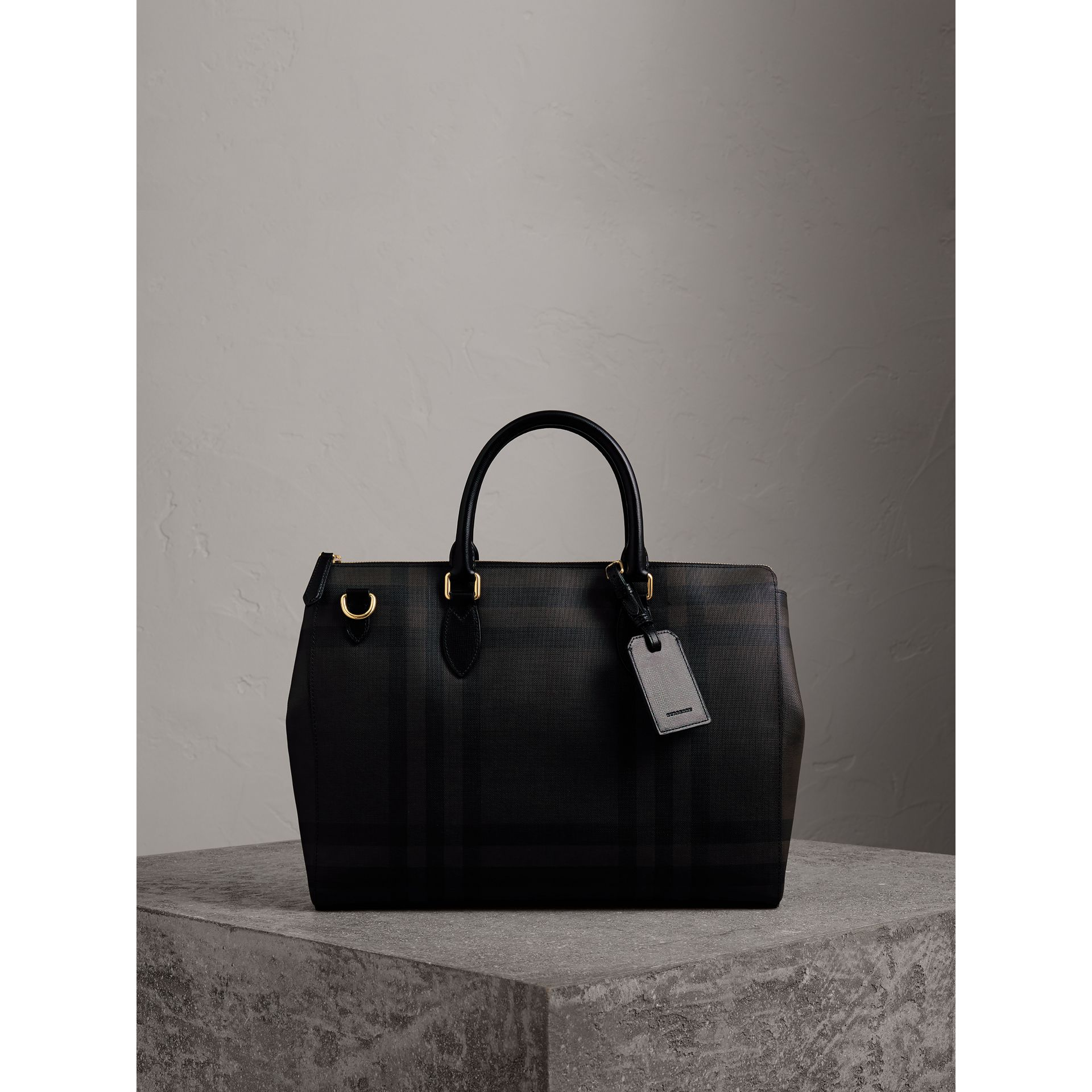 Large London Check Briefcase in Chocolate/black - Men | Burberry United Kingdom - gallery image 1